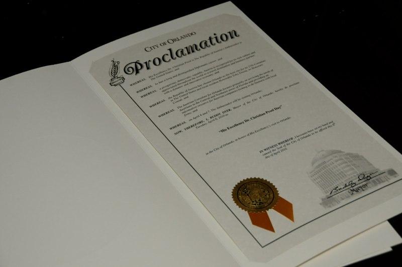 Proclamation Mayor Buddy Dyer